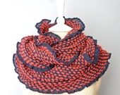 Ruffled Infinity Scarf - Coral Infinity Scarf - Ruffled Scarf - Soft Infinity Scarf - Woven Yarn Infinity Scarf - Purple and Pink Scarf