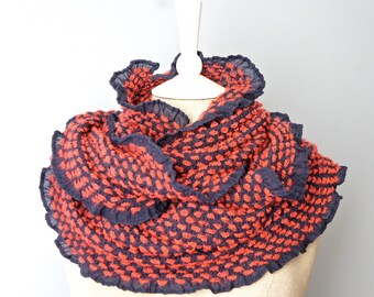 Ruffled Infinity Scarf - Coral And Purple Ruffled Infinity Scarf - Ruffled Edge Scarf - CozyInfinity Scarf - Red And Purple Infinity Scarf