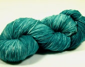 Hand Dyed Yarn - Sock Yarn - Fingering Yarn - Superwash Merino / Nylon - Green Teal