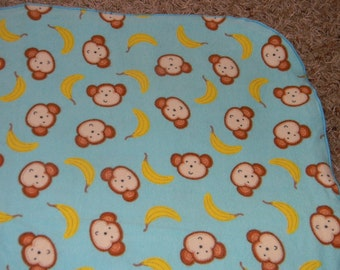 Teal Monkey and Banana XL Receiving Blanket