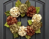 Autumn Wreath Summer Wreath Fall Grapevine Door Wreath Decor Cream Green Brown Hydrangea Floral Door Decoration, Hydrangea Wreath, Hydrangea
