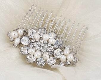 Romantic Freesia - Vintage Style Rhinestone Freshwater Pearl Bridal Hair Comb