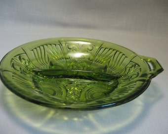 Killarney Green Avocado Indiana Glass Divided Relish Nut Candy Dish Discontinue 1950-1970