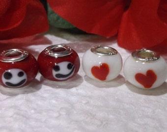 20 Heart And Smileys Murano Lampwork Beads