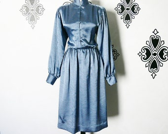 Vintage 80s Striped Blue Sateen Dress M High Collar Pirate Sleeves Knee Length Asian Victorian