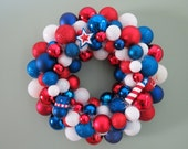 Patriotic Ornament WREATH USA Red White Blue PATRIOTIC Ornament Wreath with Star Hat Firework ornaments