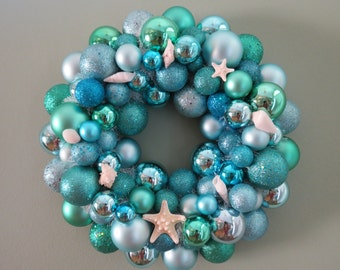 SUMMER BEACH Shatterproof Wreath -AQUA Seafoam Ornament Wreath with Starfish Shells