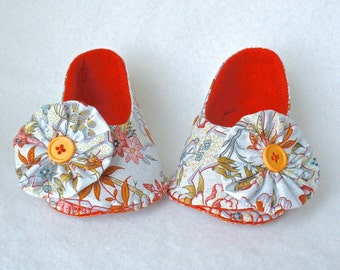Baby Shoes, Girls Hand Stitched Booties,  Pale Blue Asian Floral Print,  Hand Sewn Baby Shoes,  Blue and Coral