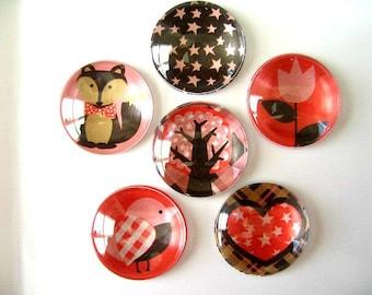 Red Brown Round Glass Magnet, Round Fridge Magnet, Glass Round Magnet