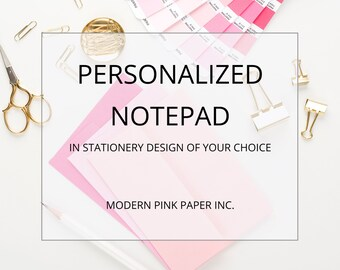 Personalized Notepad Set, Choose your stationery design, custom notepad Set, Choose stationery design from my shop to turn into notepad