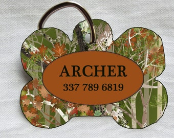 Custom Pet ID Tag - Bone - Camo and Brown - Pet Safety
