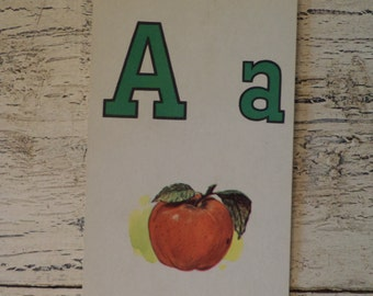 Alphabet Flash Card - Letter  A for Apple 1950s Illustrated School Flash Card