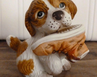 Vintage HOMCO Puppy with Shoe - Brown and White Spaniel Dog Statue - Porcelain Bisque Figurine