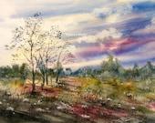 Meadow wildflowers, watercolor landscape, landscape painting, archival print, nature painting, country landscape, woodland art, home decor