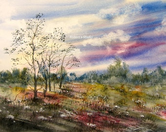Meadow wildflowers, watercolor landscape, landscape painting, archival print, nature painting, country landscape, woodland art, home decor