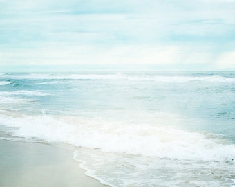 Beach Photograph, Aquamarine Blue Print, Ocean Photograph, Seascape, Coastal Shore, Gentle Waves, Ocean Horizon 8x8 and up