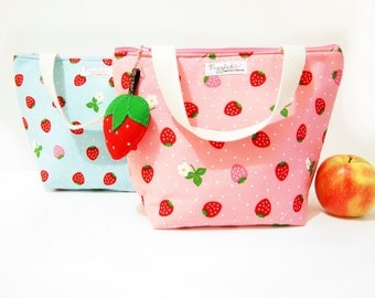 Insulated Lunch Tote Bag with Waterproof Lining - Strawberry (Choose Your Size and Color!)