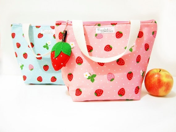 Insulated Lunch Tote Bag with Waterproof Lining - Strawberry (Pink or Blue)