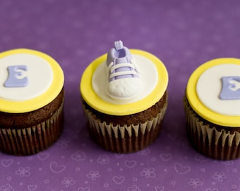 Fondant Shoe and Initial Toppers for Cupcakes or Other Treats