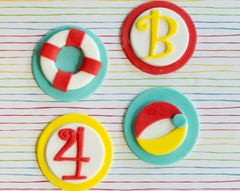 Fondant Beach Ball, Life Preserver and Age Toppers for Birthday Cupcakes, Cookies or Cakes
