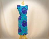 RESERVED for alexaconstantinova 60s Wiggle Dress * Blue Floral Dress * 1960s Dress * 60s Dress * Mad Men Dress * Sleeveless Dress