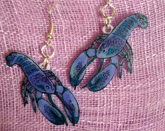 blue lobster earrings