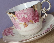 Antique 1930's Aynsley pink rose tea cup, creme colored teacup and saucer, bone china tea cup, pink and green English tea cup, wedding gift