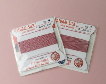 Natural Silk Cord With Needle - 2 packs - Size 4 - Dark Pink