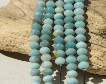 Amazonite - LARGE HOLE Beads - 8x12mm Rondelle - 8 inch strand - 2.5mm Hole