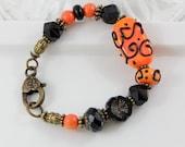 Zentangles in Orange Bracelet