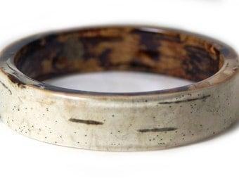 Bracelet - Real Birch Bark Bangle- Resin Jewelry- Brown Jewelry- Brown Bracelet- Real Tree Bark- White Bracelet- tan jewelry