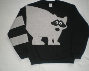 Raccoon Sweatshirt, raccoon tail sweatshirt, adult size sweatshirt, unisex small, medium. large, XL, XXL, XXXL top.