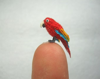 Red Parrot in Dome - Micro Amigurumi Miniature Crochet Bird Stuffed Animal - Made To Order