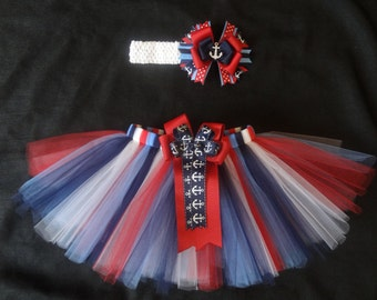 Anchor tutu set, 4th of July patriotic anchor tutu custom made in your choice of size Newborn-4t