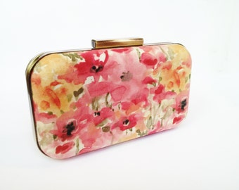 floral clutch, bridesmaids gift, coral bridesmaids, coral weddings, watercolor floral, pink clutches, salmon clutch, coral and mint, wedding