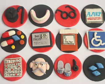 Fondant cupcake toppers--over the hill, old man