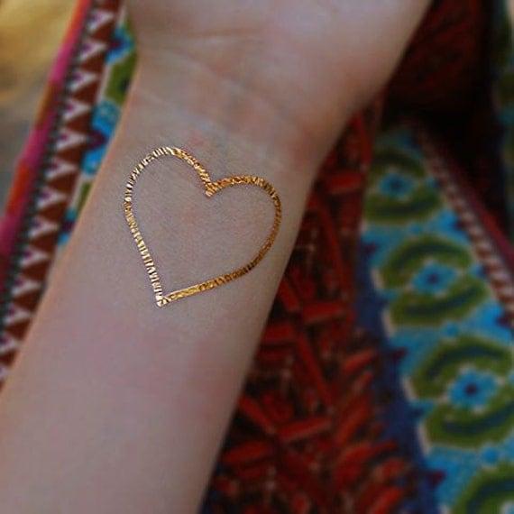 Items similar to gold heart tattoo gold tattoo metallic for Heart of gold tattoo
