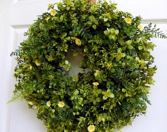 Summer Wreath , Fall Wreaths , Boxwood and Fern Wreath , Wreath ,  Boxwood Wreath , Front door , Year Round