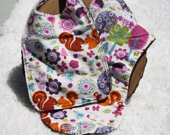 Forest Friends Girl - baby bib and burp cloth