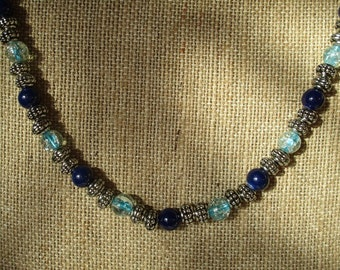 Stretchy Blues Necklace and Earring Set