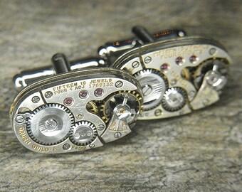Steampunk Cufflinks Cuff Links - Torch SOLDERED - Antique Silver GRUEN Oval Watch Movements - Birthday, Wedding, Gift - Sleek Design