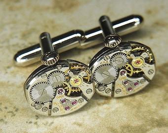 Steampunk Cufflinks Cuff Links - TORCH SOLDERED - Antique Silver BULOVA Watch Movements w Crowns - Wedding, Anniversary Gift - Fine Design