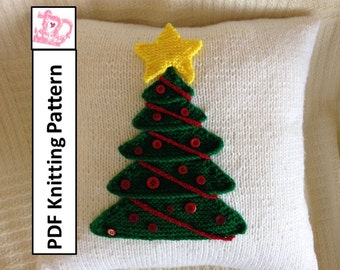 """PDF KNITTING PATTERN, knit pillow cover pattern, knitted cushion pattern, Christmas Tree 16""""x16"""" pillow cover"""