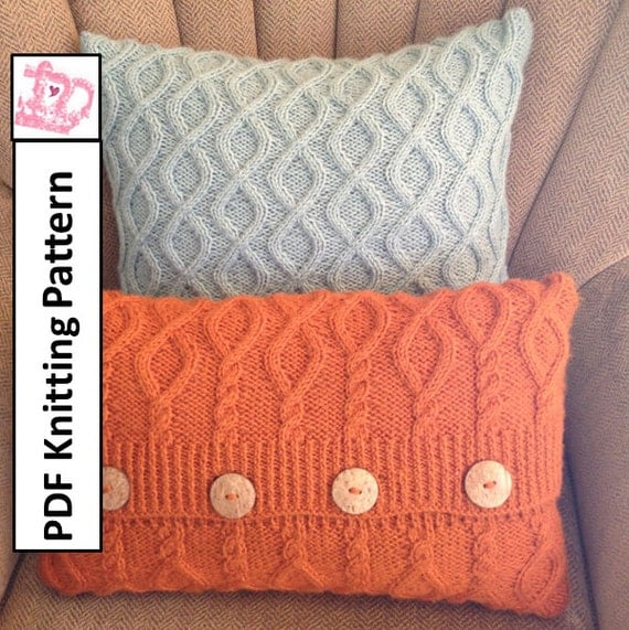 Knit Pillow Cover Pattern : Cable knit pillow cover pattern PDF KNITTING PATTERN knitted
