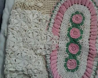 Vintage dresser scarves, four each