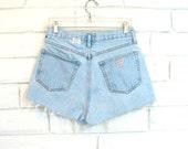 80's GUESS DENIM CUTOFFS vintage high waisted short shorts faded blue button fly high waist M 29