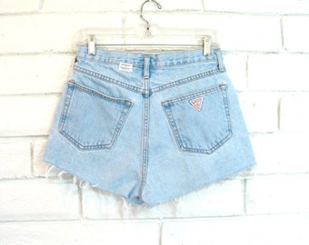 80's GUESS JEAN SHORTS vintage high waisted denim cutoffs faded blue button fly short shorts M 29