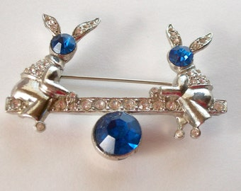 RARE and Collectible 1940s Bunny Rabbit Rhinestone Encrusted Teeter Totter Peter Cottontail Sapphire Faces Whimsical Brooch