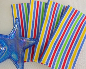 Multi Colored Napkins - Stripe Cloth Napkins - Four -  Bright Napkins by Pillowscape Designs - Blue, Red, Green and Yellow - Picnic Napkins