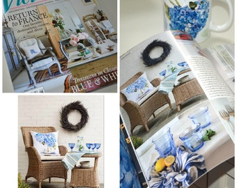 As seen in Victoria Magazine MAY/JUNE 2015 issue.  Outdoor Pillow Cover,  Cape Cod Hydrangeas